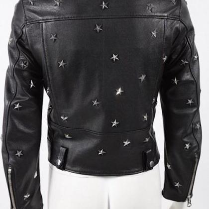 Women Black Star Studded Leather Bi..