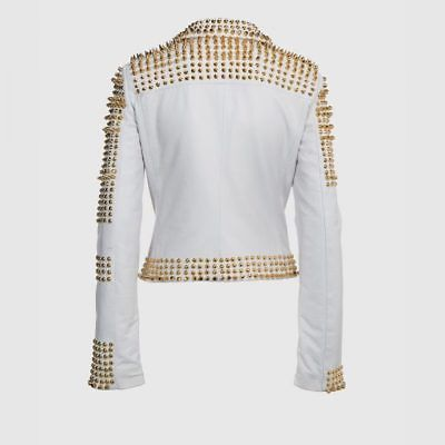 Women White Full Golden Studded Gen..