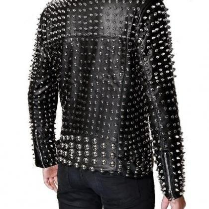 Men's Punk Full Silver Studded Blac..