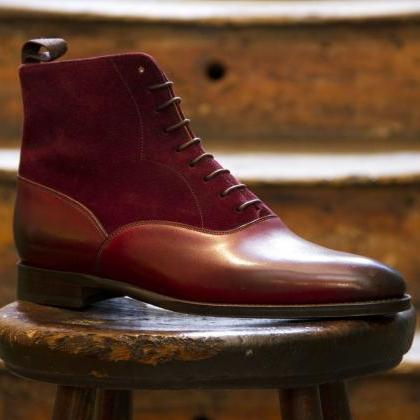 Made To Order Men's Maroon Red Plai..