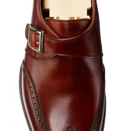Handcrafted Men's Brown Color Oxfor..