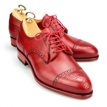 Handcrafted Men's Red Derby Full Br..