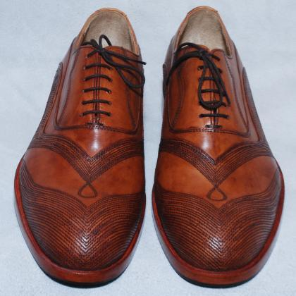 Hand Crafted Men Brown Wing Tip Li..