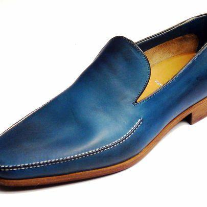 Men Leather Blue Loafer Slip Ons Sh..