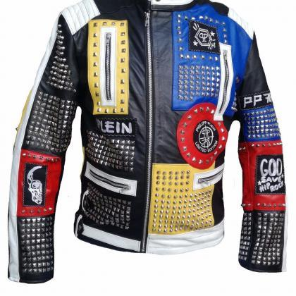 Philipp Plein Leather Coat Multi C..