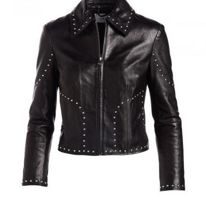 Stylish Black Cropped Real Leather..