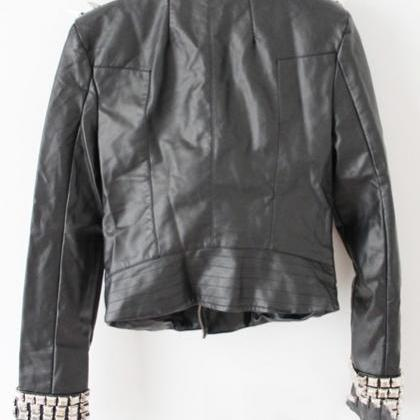 Black Color Genuine Leather Jacket..