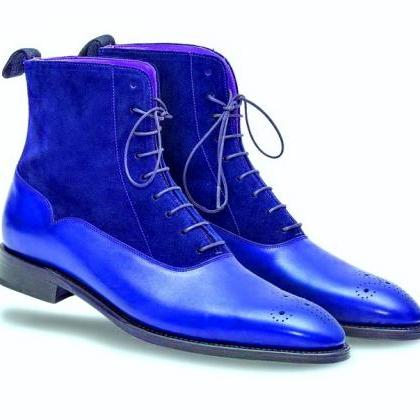 Two Tone Blue Suede Genuine Leather..