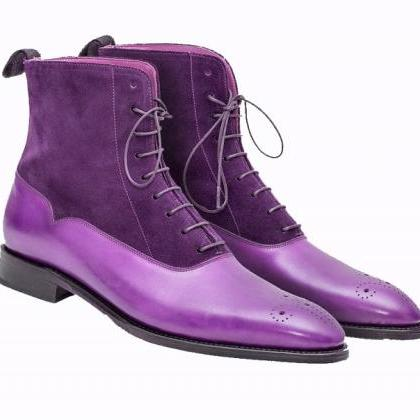 Purple Suede Two Tone Genuine Leath..