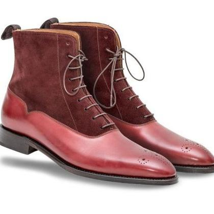 Maroon Red Cont Suede Real Leather ..