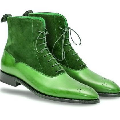 High Ankle Green Suede Real Leather..
