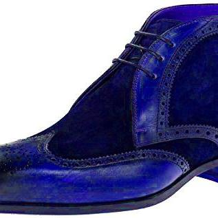 Navy Blue Suede Genuine Leather Bro..