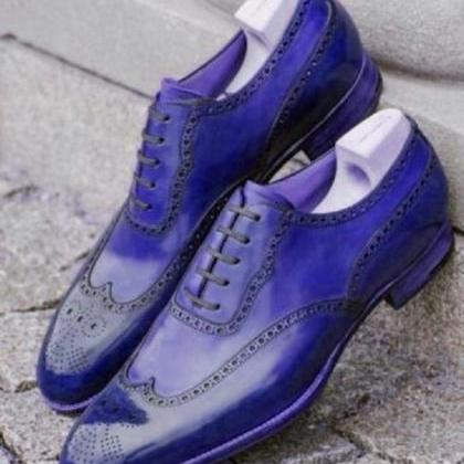 New Men's Oxford Blue Brogue Real L..