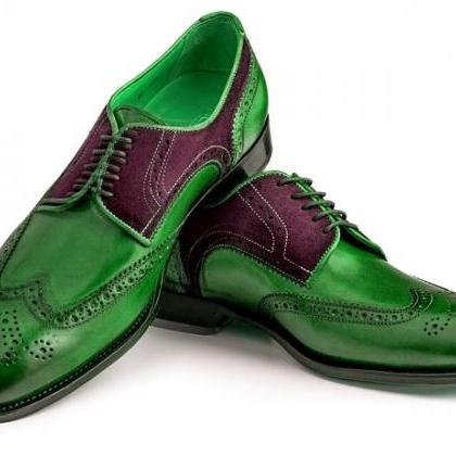 Two Tone Green Maroon Oxford Wingti..