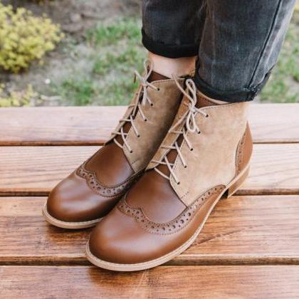 Two Tone Brown Derby Toe Lace Up Vi..