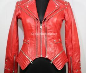Red Double Zipper Si..