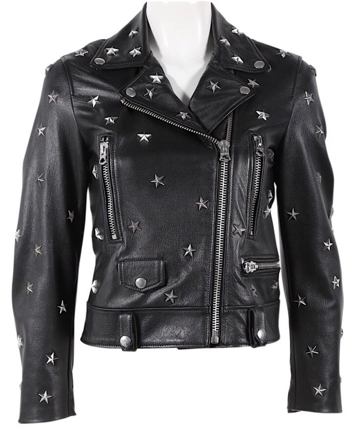 Women Black Star Studded Leather Biker Jacket HANMDADE XS TO 6XL All sizes Available