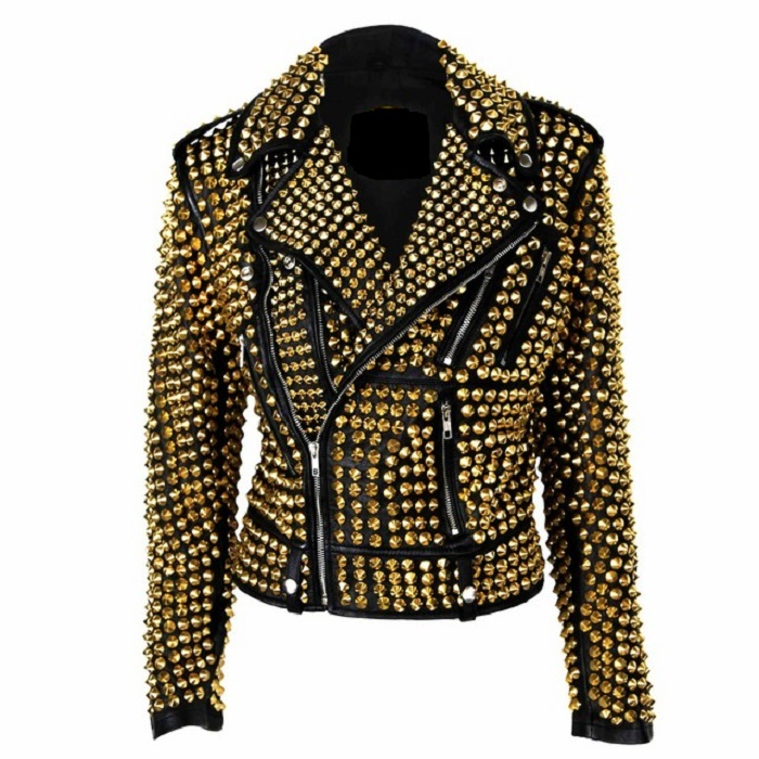 f255cfb51 Custom Made Item For Womens Gold Studs Punk Rock Real Leather Jacket