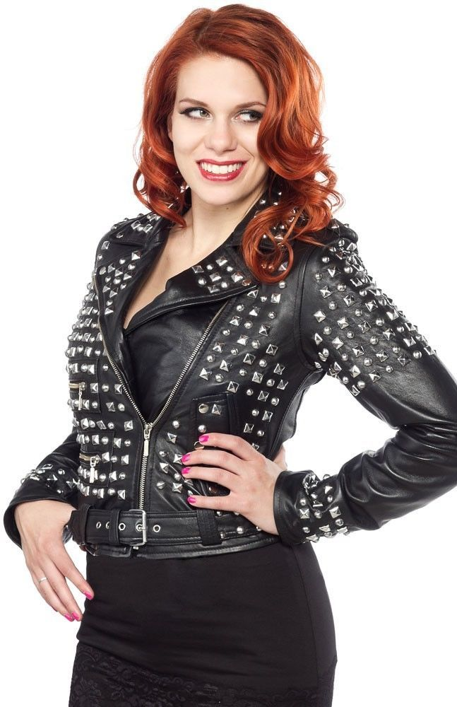 Customized Handmade Women Black Color Silver Studded Leather Jacket