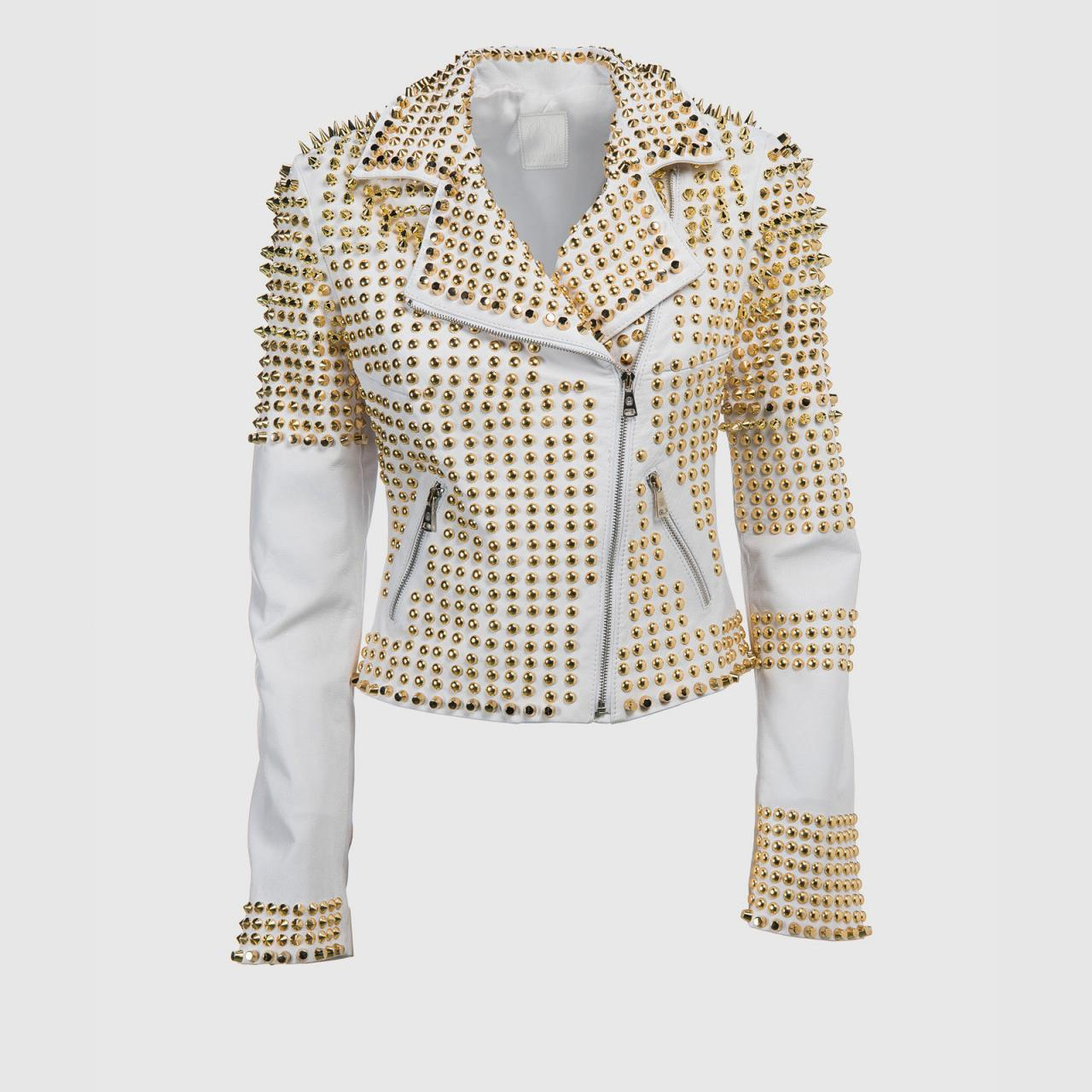 Women White Full Golden Studded Genuine Leather Jacket