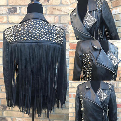 Customized Handmade Women Studded Black Fringes Chains Style Leather Jacket