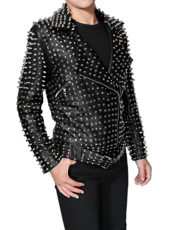 Men's Punk Full Silver Studded Black Genuine Cowhide Leather Jacket