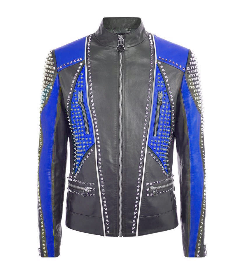 Men Philipp Plein Black Blue Contrast Full Studded Leather Jacket