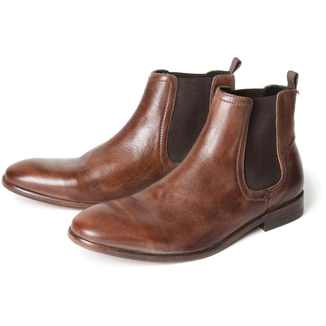 Handmade Men's Chelsea Jumper Slip On Brown Leather Boots