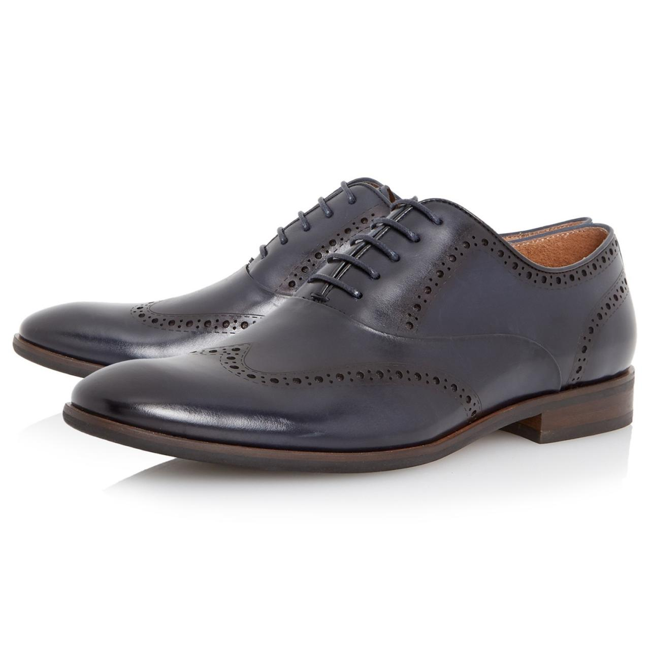 Oxford Brogue Punch Hole Style Navy Blue Color Leather Laceup Shoes