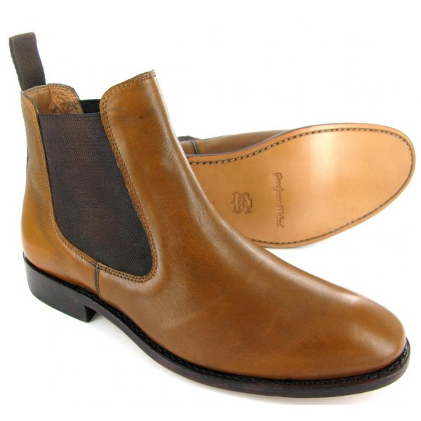 Handmade Men's Brown Chesea Jumper Slip On Genuine Leather Shoes