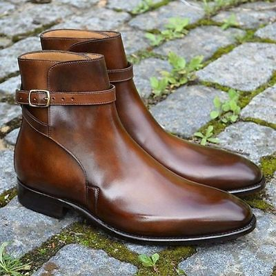 Handcrafted Men's Brown High Ankle Burnished Toe Rounded Buckle Strap Jodhpur Genuine Leather Boots