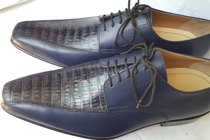 Designer Made Men Oxford Crocodile Belly Leather Laceup Shoes US Size 9