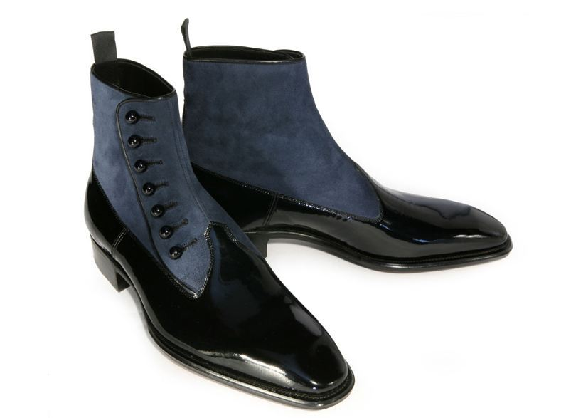 Made To Order Men's Black Color High Ankle Patent Gray Suede Leather Button Boots