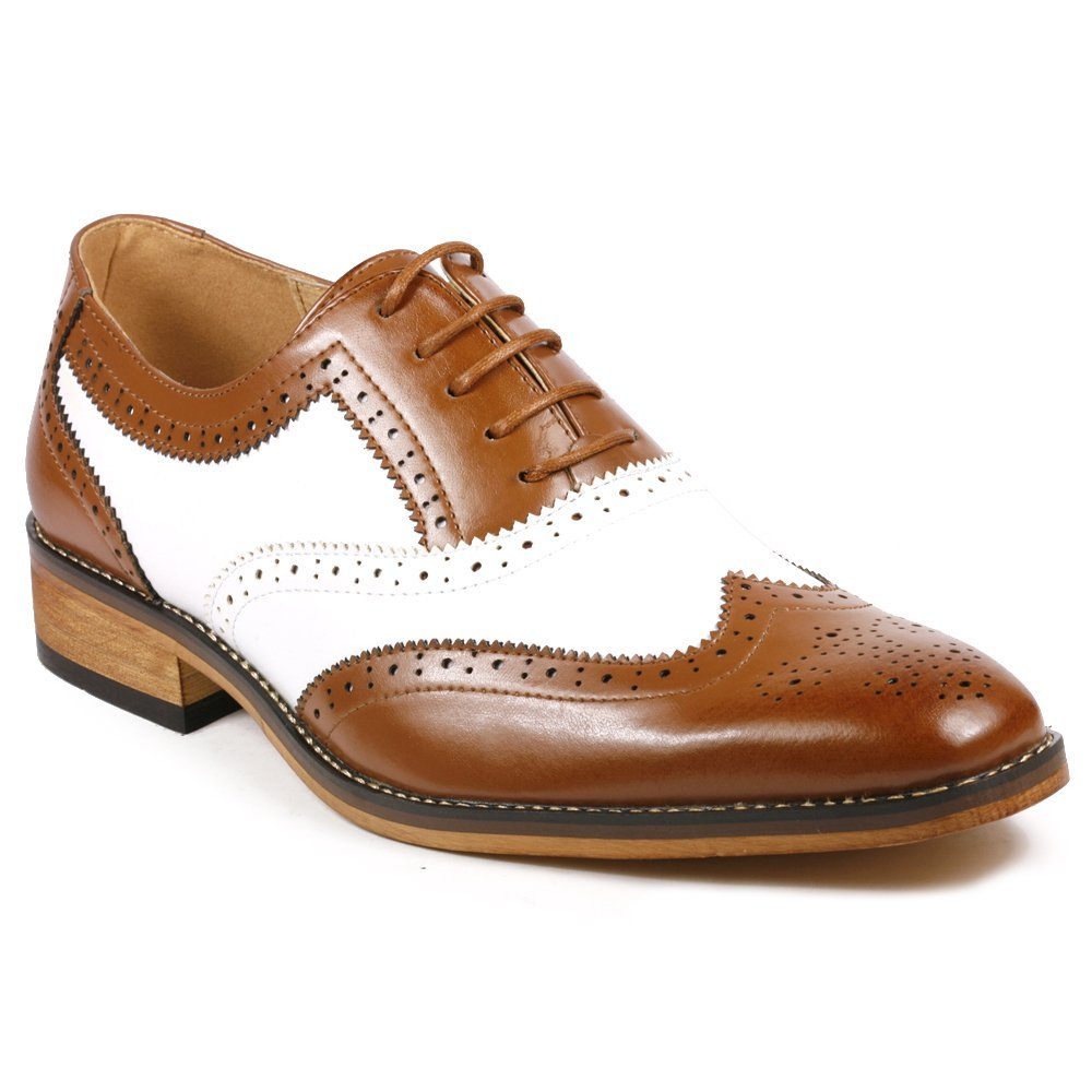 27f867e636a49 Handcrafted Men's Oxford Brogue Toe Wingtip Brown White Color Vintage  Leather Lace Up Shoes