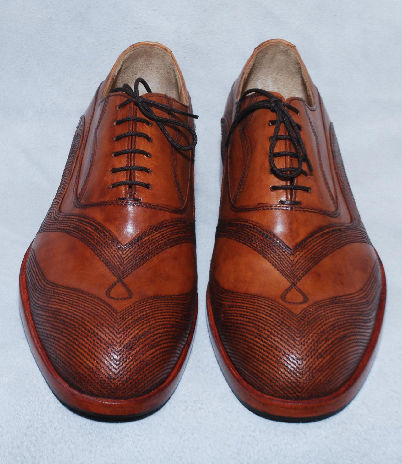 Hand Crafted Men Brown Wing Tip Linings Lace up Oxford Genuine Pure Leather Shoes