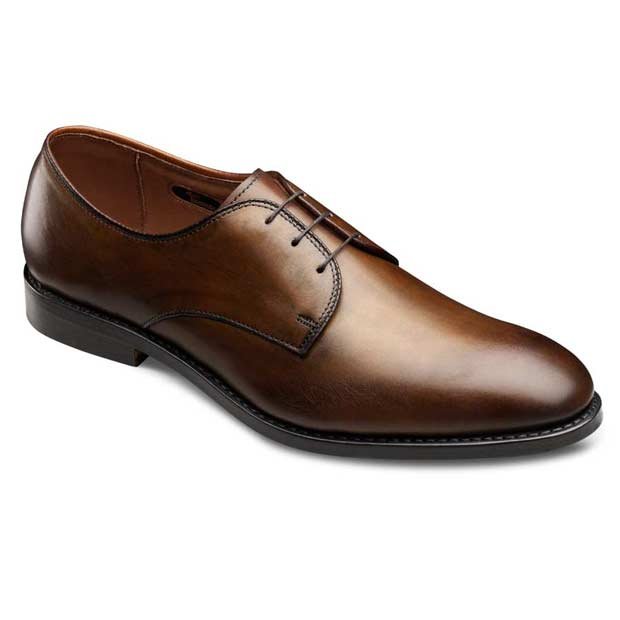 Men Brown Black Two Tone Plain Toe Lace up Derby Genuine Real Leather Shoes