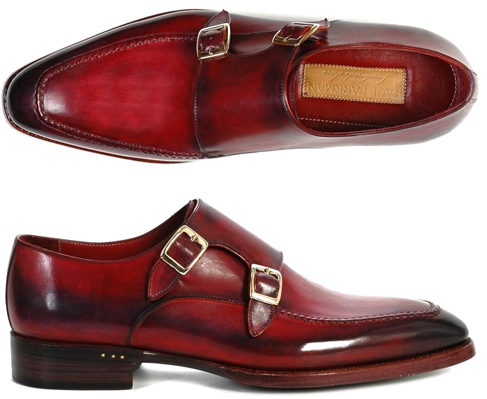 Two Tone Monk Burnished Toe Double Buckle Straps Maroon Black Cont Leather Shoes