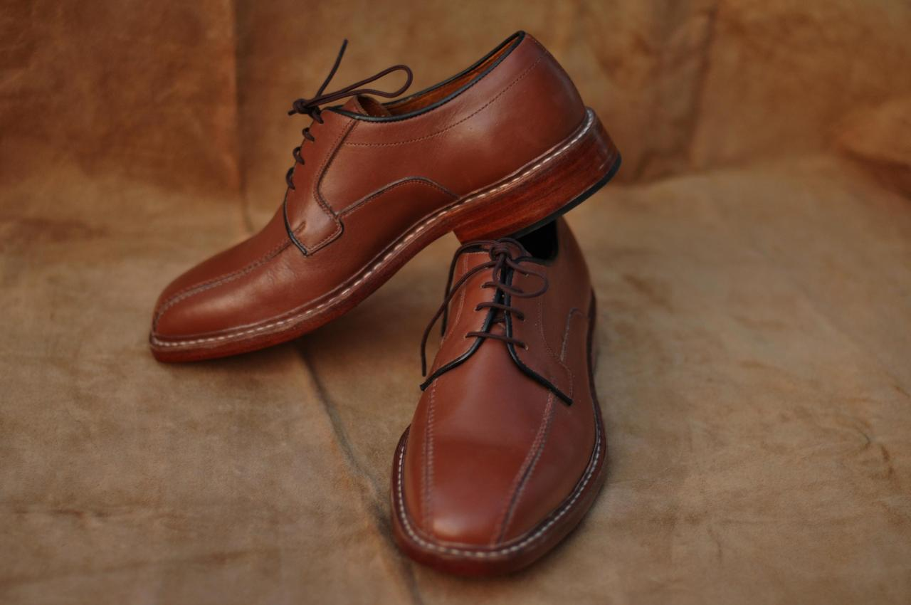 Men Brown Bicycle Style Black Laces Derby Sided Lining Genuine Leather Shoes