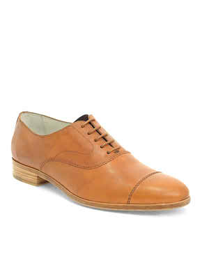 Hand Made Brown Men Cap Toe Plain Tip Lace up Oxford Genuine Pure Leather Shoe