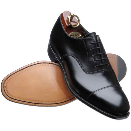 Black Cap Toe Plain Tip Lace up Pure Brown Sole Oxford Pure Leather Shoe For Men
