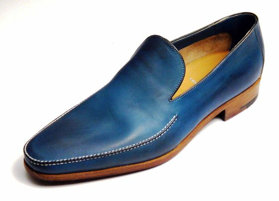 Men Leather Blue Loafer Slip Ons Shoes with White Stitching & Natural Color Sole