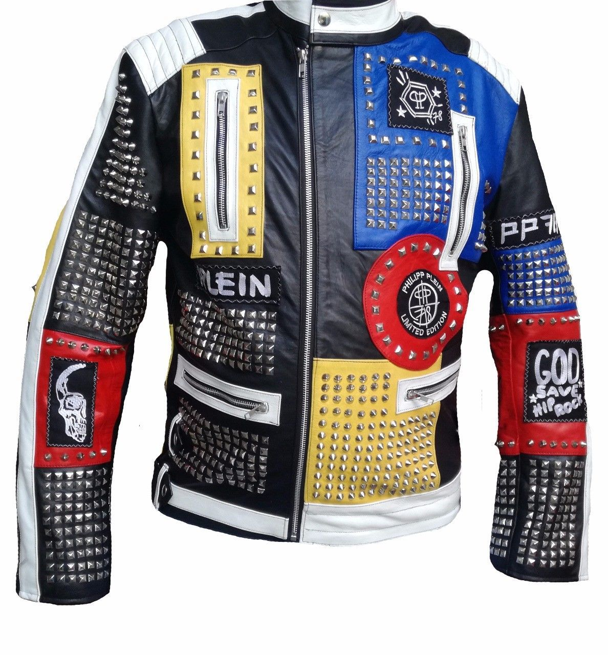 Philipp Plein Leather Coat Multi Color Studded Embroidery Patches Jacket for Men