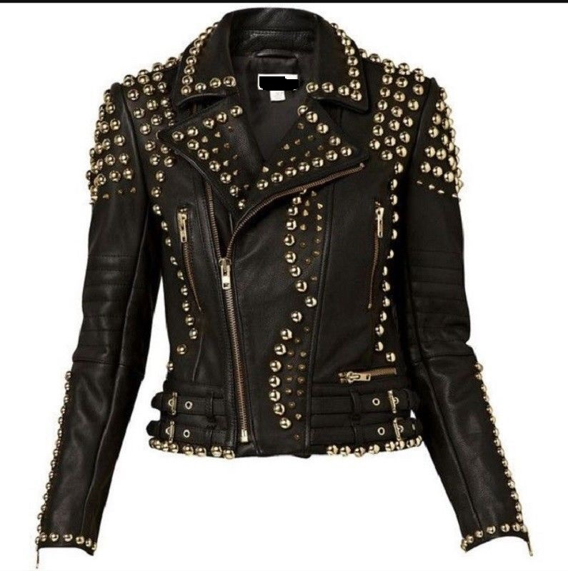 Women's Black Color Genuine Leather Handcrafted Silver Studded Brando Jacket