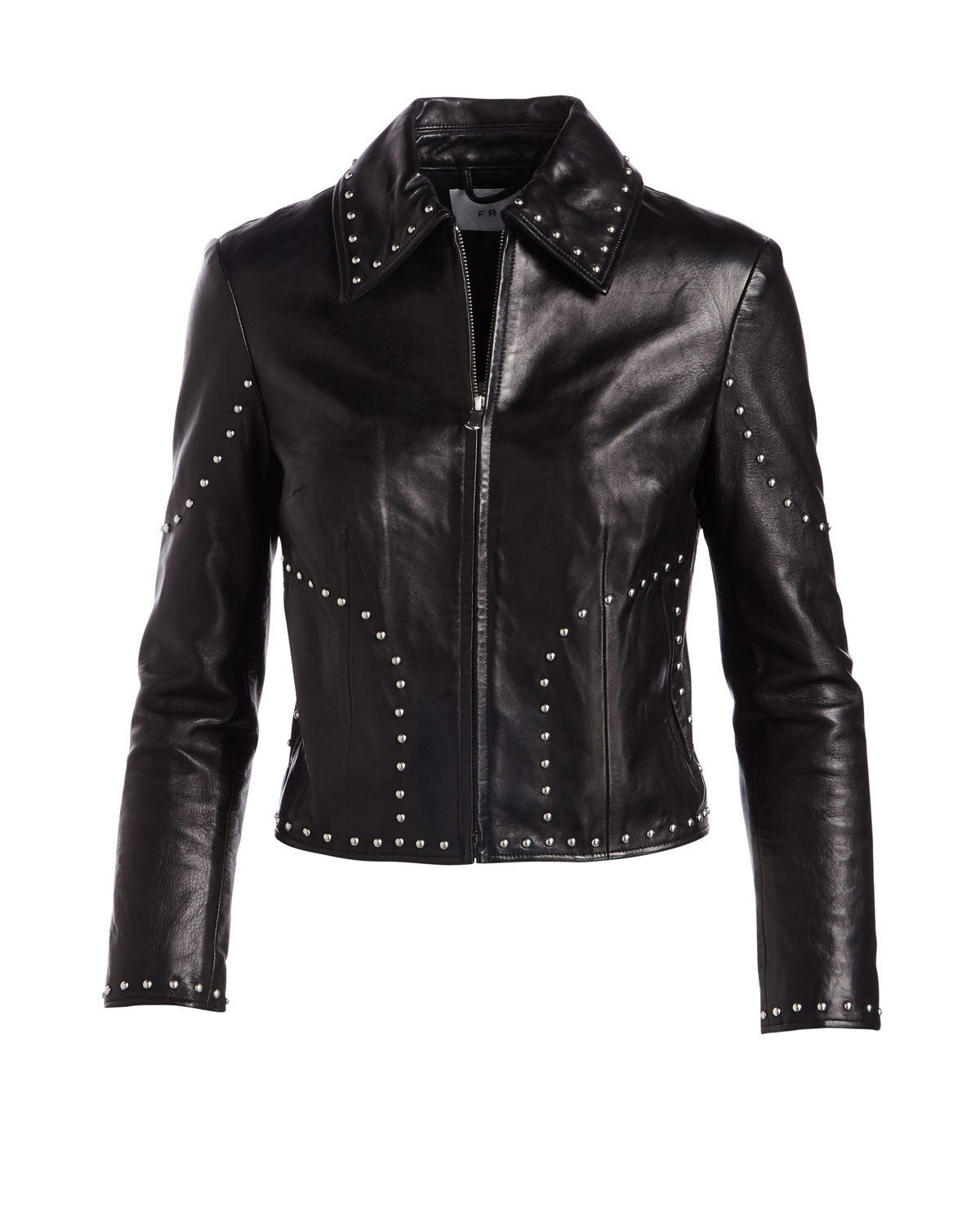 Stylish Black Cropped Real Leather Jacket with Fastening Zipper & Silver Studs
