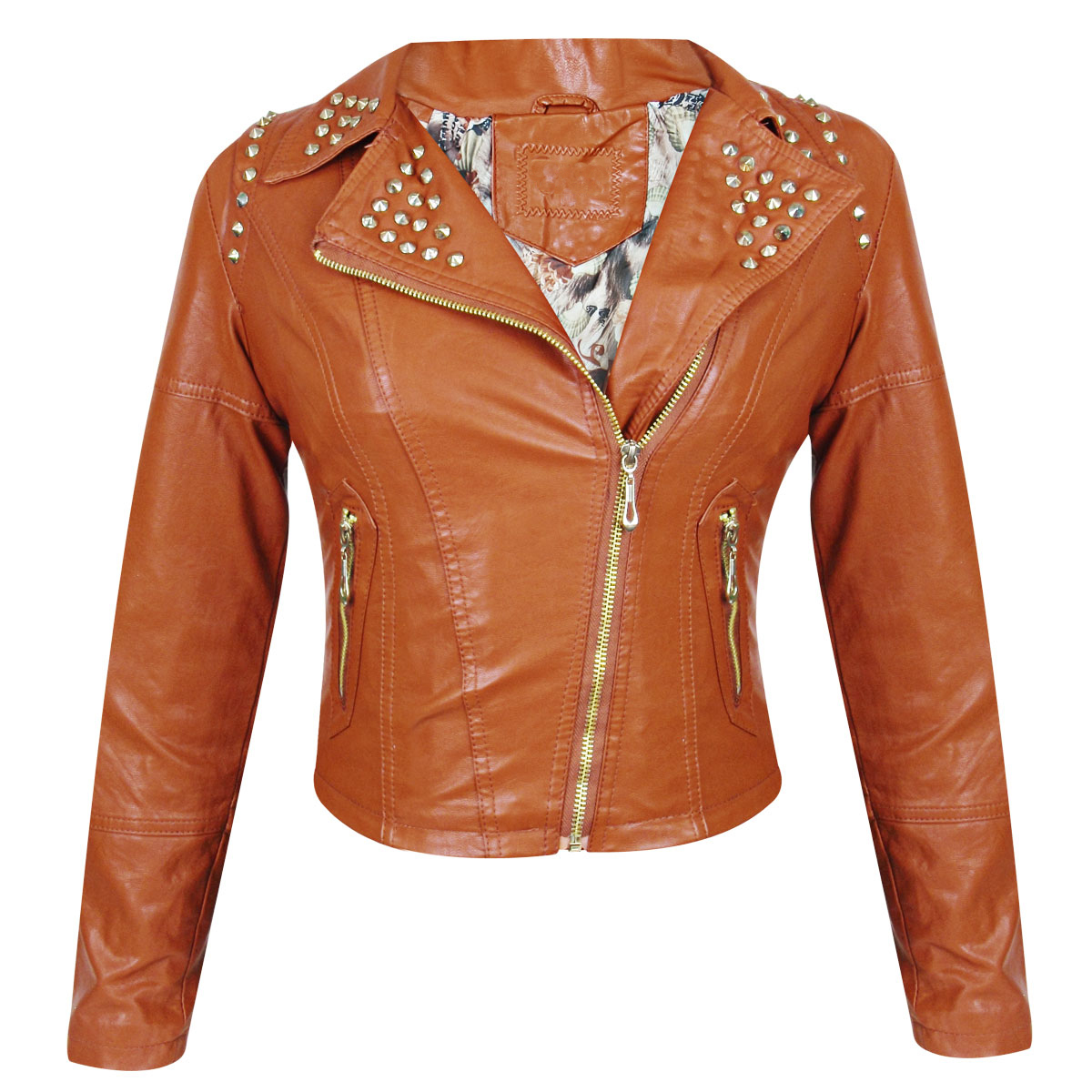 Tan Color Slim Fit Biker Genuine Leather Jacket with Silver Studs for Women's
