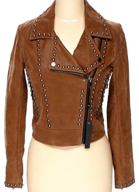 Brown Color Stylish Genuine Leather Jacket Silver Studded Brando Style For Men