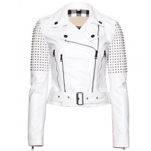 Women White Color Genuine Elegant Leather Jacket Silver Studded On Shoulders