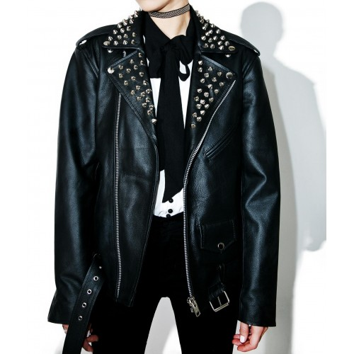 Black Color Women Motor Biker Genuine Leather Jacket Silver Studded Customized