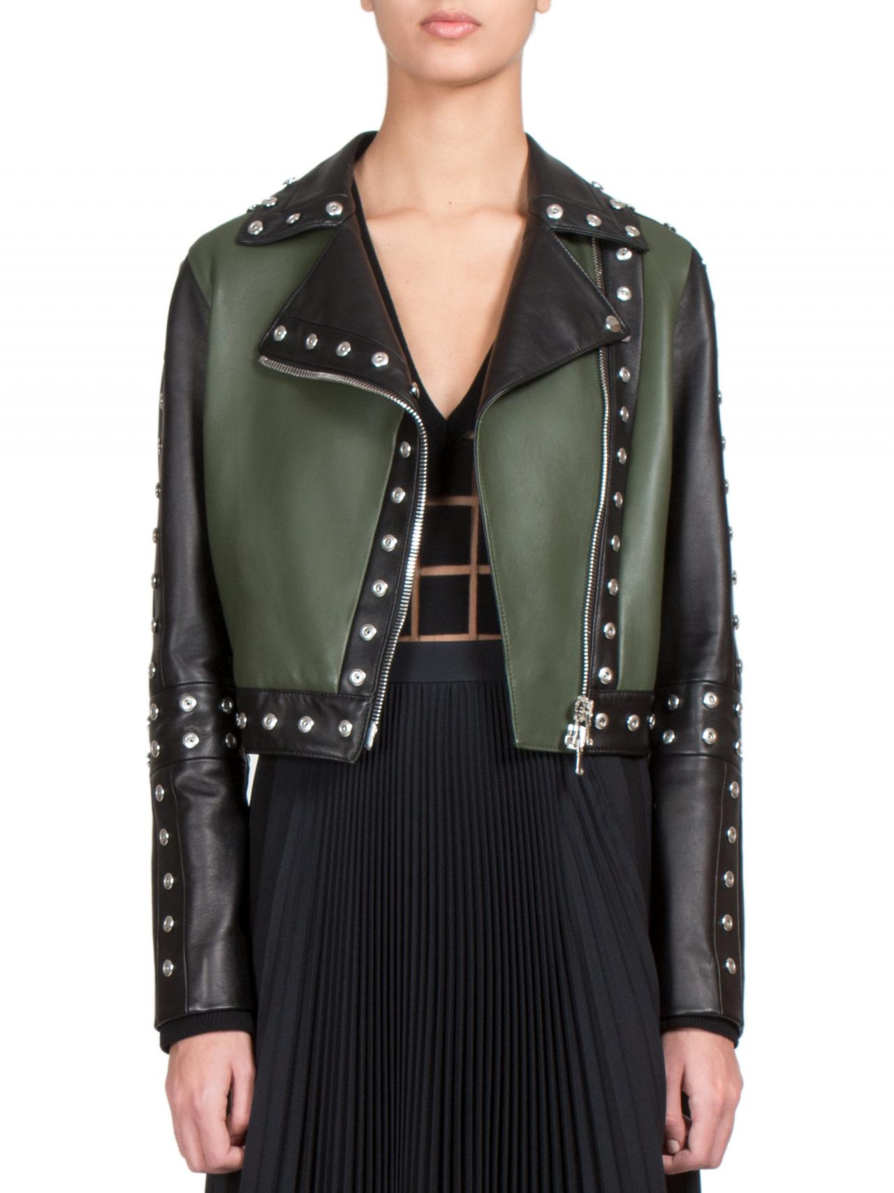 Two Tone Black & Green Short Body Genuine Leather Jacket Silver Studs For Women