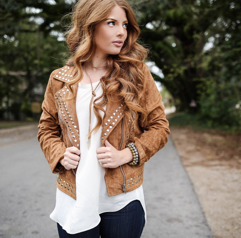Brown Color Causal Wear Genuine Real Leather Jacket Silver Studded For Women